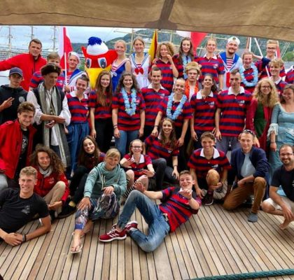 The Crew in board the Fryderyk Chopin. Photo: private/Baltic Sail